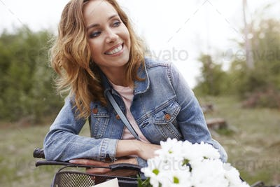 Smiling woman spending day in park