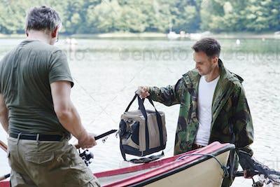 Fishermen make preparations for fishing trip