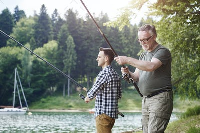 Son and father on fishing trip