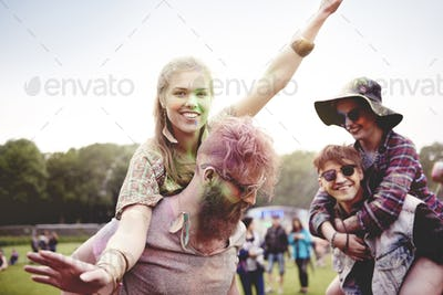 Dancing couples at holi festival