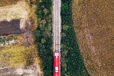 Aerial view of passenger train on railway