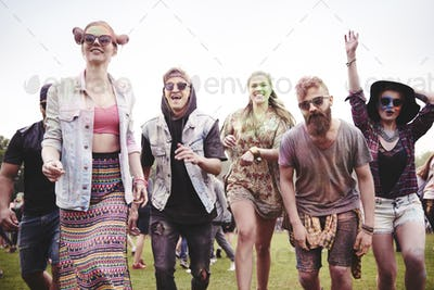 Group of people start the party