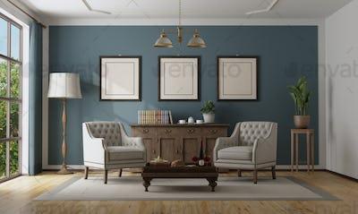 Blue classic interior with elegant furniture