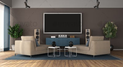 Modern living room with home cinema system