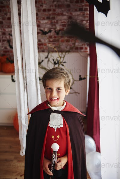 Boy dressed as a vampire