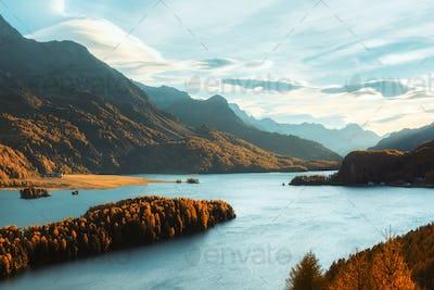Autumn landscape on Sils lake