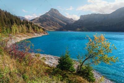 Lac de Roselend lake in France Alps