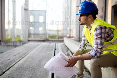Engineers working on a building site
