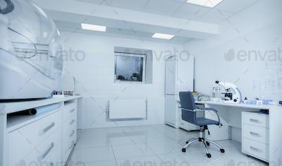 High tech biochemical laboratory with modern equipment