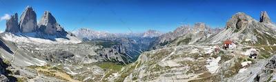 Rifugio Locatelli and Dolomites mountains, Italy