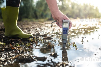 Measure water content with digital device.  PH meter.