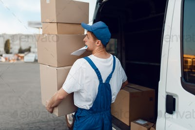 Mailman unloads the car with parcels, delivery