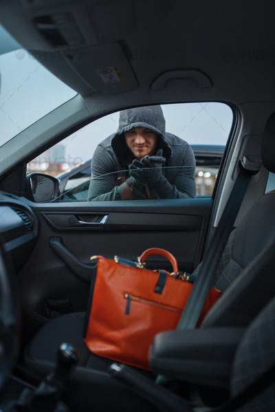 Car robber steals women's handbag, stealing