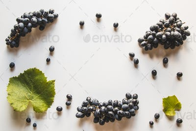 Grapes with grape leaf isolated on white background. Wholesome healthy food
