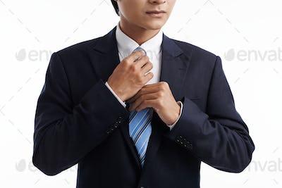 Tying necktie