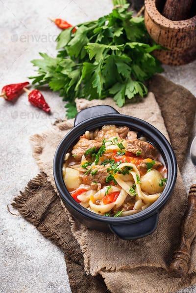 Traditional oriental uzbek soup lagman
