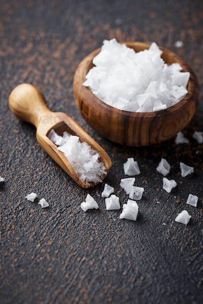 Pyramid flakes of sea salt.