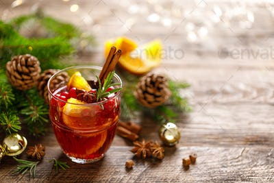 Christmas mulled wine. Traditional holiday drink