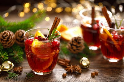 Christmas mulled wine. Traditional holiday drink or beverage, cocktail