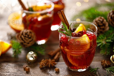 Christmas mulled wine. Traditional festive drink