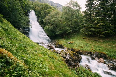 Gudvangen-Naeroyfjorden, Norway. Waterfall Tuftofossen In Spring