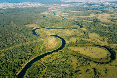 Aerial View Green Forest Woods And River Landscape In Sunny Summ