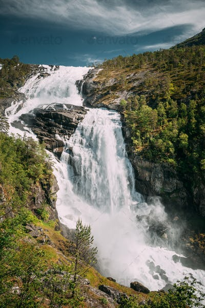 Kinsarvik, Hordaland, Norway. Waterfall Nyastolfossen In Hardang