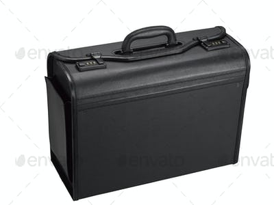 Black leather representative suitcase