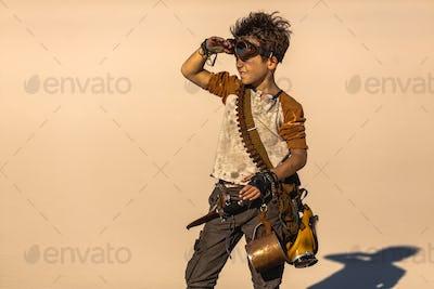 Post Apocalyptic Boy Outdoors in Desert
