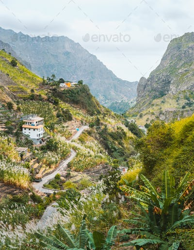 View of dwellings between landscape of vegetation and mountains of the Paul Valley, on the island of