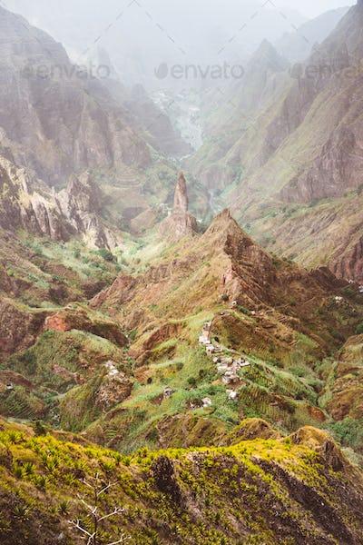 Peak of Xo-Xo valley. Rugged mountain radge overgrown with verdant grass. Santo Antao Island, Cape