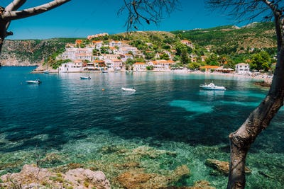 Assos village, Kefalonia Greece. View on turquoise transparent bay lagoon of Mediterranean sea