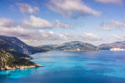 Stunning scenery of Kefalonia island during summer. Majestic peaceful nature landscape and sea shore