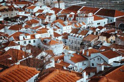 Srop of Rooftops of the oldest district Alfama in Lisbon. . Lisbon Lisboa Lissabon