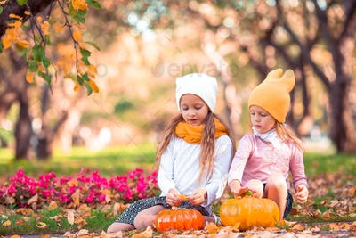 Little adorable girls with pumpkin outdoors on a warm autumn day