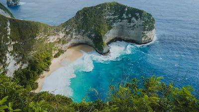 Manta Bay or Kelingking Beach on Nusa Penida Island, Bali, Indonesia. Side Shot