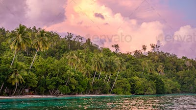 Evening Clouds over Jungle during Sunset on Gam Island, West Papuan, Raja Ampat, Indonesia
