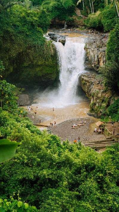Epic Tegenungan Waterfall. Ubud in Bali, Indonesia