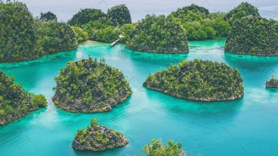 Group of Pianemo Island surrounded by Blue Lagoon, Ocean, Raja Ampat, West Papua, Indonesia