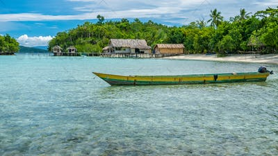 Papua Local Boat, Beautiful Blue Lagoone near Kordiris Homestay, Small Green Island and Homespay in