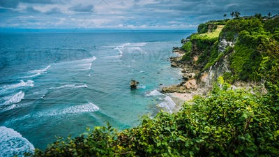 Rock on Impossible Beach in Evening Light, luxus cottage on the hill, Bali Indonesia