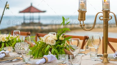 Close up of Table decoration in the Restaurant on the Beach, Bali