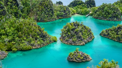 Group of Painemo Island surrounded by Blue Lagoon, Ocean, Raja Ampat, West Papua, Indonesia
