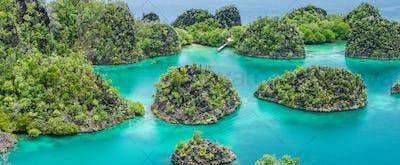 Painemo Island on sunny day. Blue Lagoon, Raja Ampat, West Papua, Indonesia