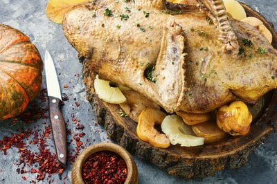 Roasted turkey on tray