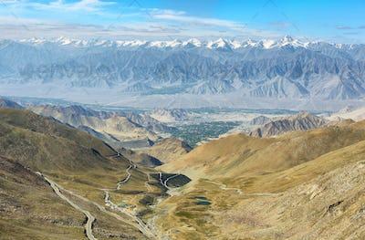 Mountain range of Himalayas from Khardung La Pass road, India