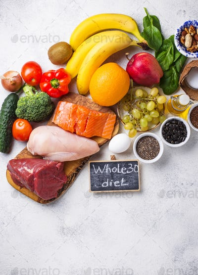Healthy products for Whole 30 diet