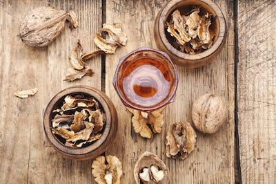 Walnut medicinal partitions.