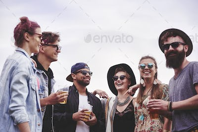 Meeting of friends at the music festival