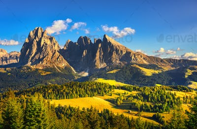 Alpe di Siusi or Seiser Alm and Sassolungo mountain, Dolomites A